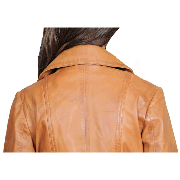 Womens Fitted Mid Length Biker Leather Jacket Hannah Tan Feature 3
