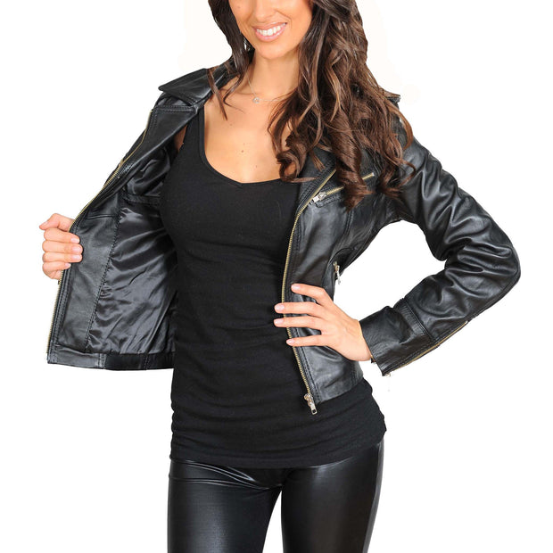 Womens Fitted Biker Style Leather Jacket Betty Black feature