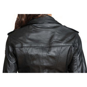 Womens Fitted Biker Style Leather Jacket Betty Black shoulder