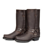 Real Leather Square Toe Cowboy Biker Boots AR69 Brown Pair 2
