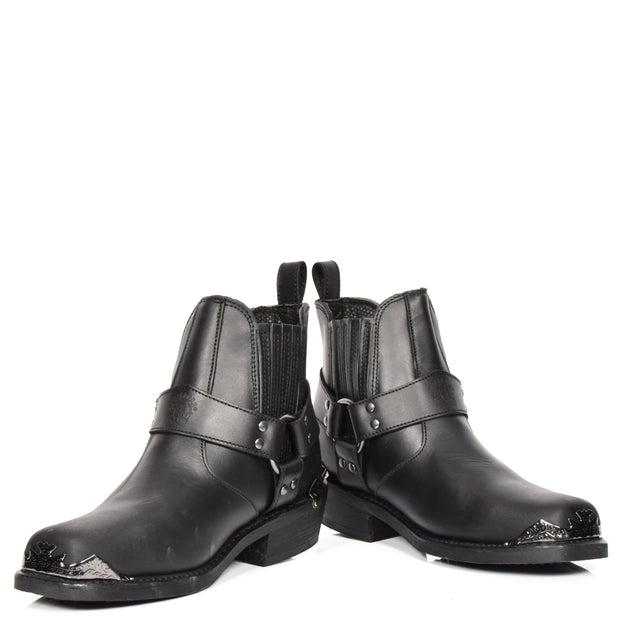 Real Leather Square Toe Eagle Design Ankle Boots AEB77L Black Pair 2