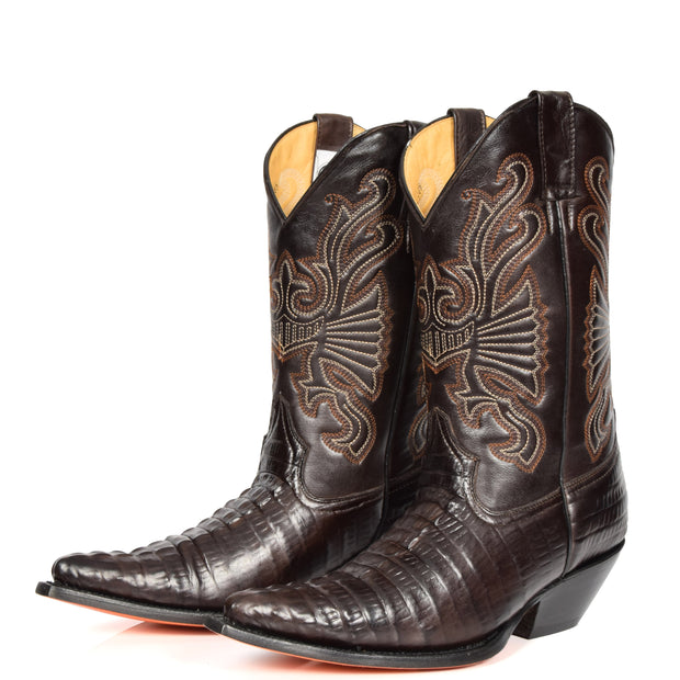 Real Leather Pointed Toe Croc Print Cowboy Boots AC229 Brown Pair 2