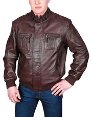 Mens Bomber Soft Leather Jacket Zip Fasten Ryan Brown main view