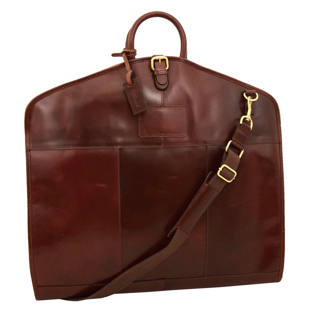 Luxury Leather Suit Carrier Bag Dress Garment Cover Finley Brandy