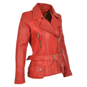 Womens Biker Leather Jacket Slim Fit Cut Hip Length Coat Coco Red