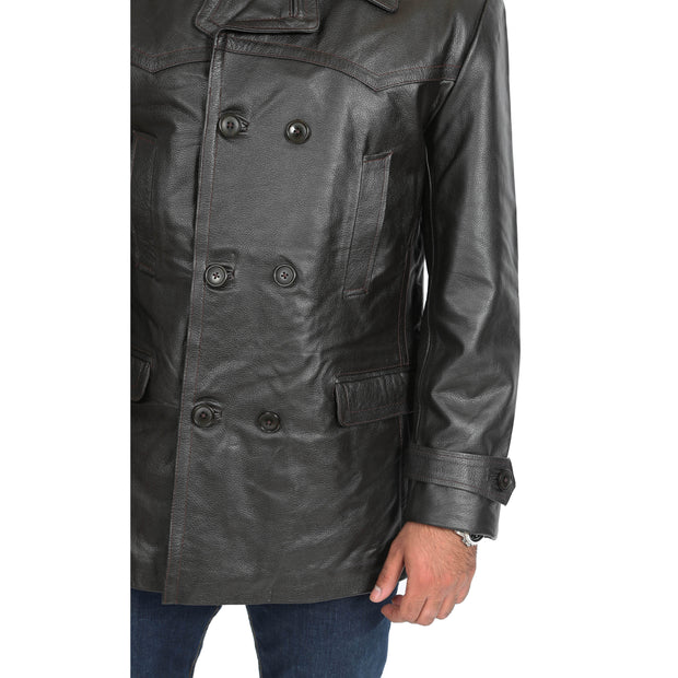 Mens Trench Leather Fitted Reefer Military Overcoat Ernest Brown Feature