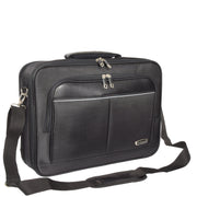 Laptop Messenger Briefcase Work Business Organiser Black Shoulder Satchel A302 With Belt