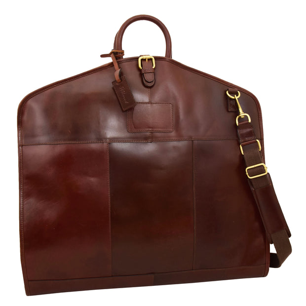 Luxury Leather Suit Carrier Bag Dress Garment Cover Finley Brandy Feature 1