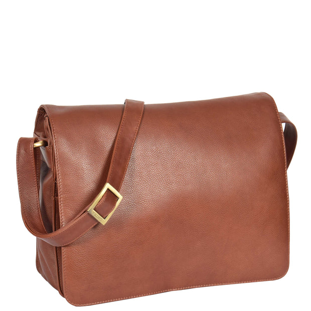 Womens BROWN Leather Messenger Cross body Shoulder Bag A53 Front