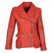 Womens Biker Leather Jacket Slim Fit Cut Hip Length Coat Coco Red Front 1