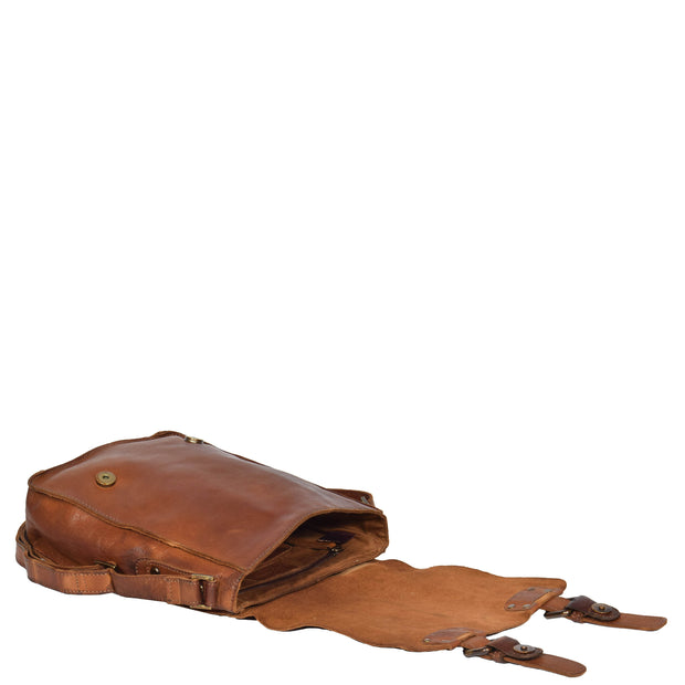 Real Leather Cross Body Messenger Bag Truman Rust Brown Open Letdown