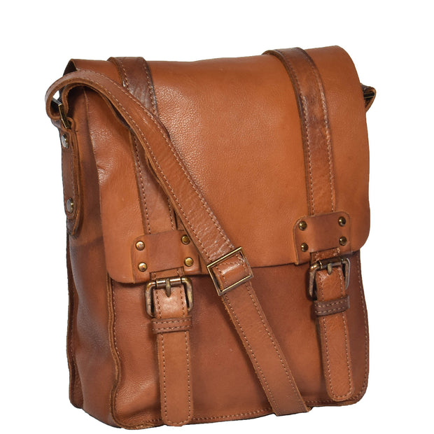 Real Leather Cross Body Messenger Bag Truman Rust Brown