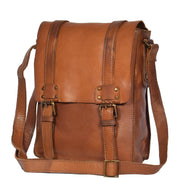 Real Leather Cross Body Messenger Bag Truman Rust Brown Feature