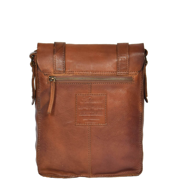 Real Leather Cross Body Messenger Bag Truman Rust Brown Back