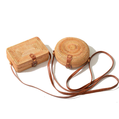 Women's Handmade Round Rattan Shoulder Bamboo Bag | RnD International