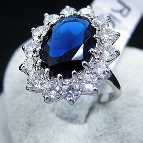 Ladies Luxury Oval Shape Blue Sapphire Type Ring | RnD International