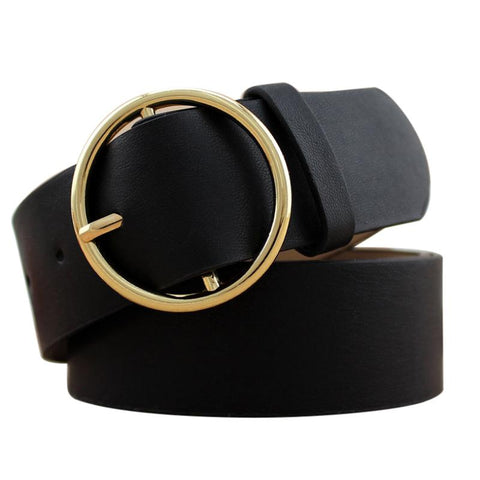 Women's Gold Buckle Leather Belt | RnD International