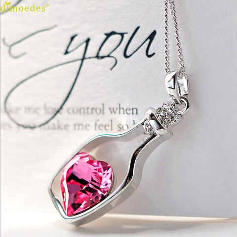 Women's Gorgeous Fashion Crystal Love Drift Bottle Necklace | RnD International