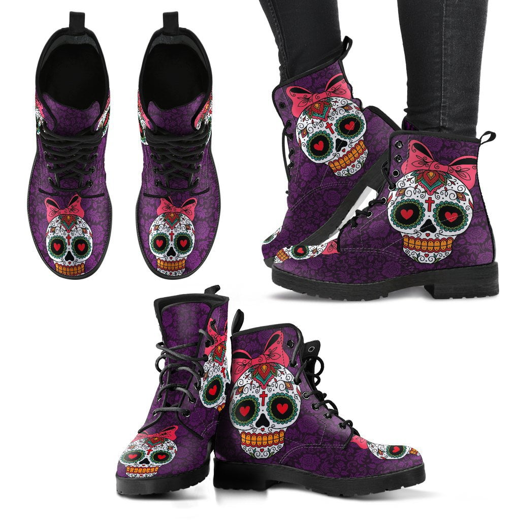 Cute Sugar Skull Women's Leather Boots