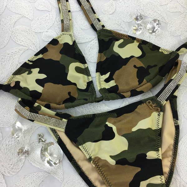 Custom Green Brown Camo Pool Party Bling Band Bikini (Camouflage)***(SUIT SOLD PER PIECE OR SET, price varies)