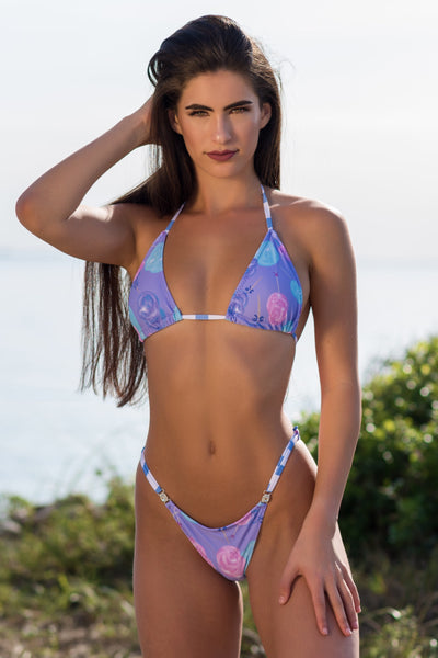 2019 Cotton Candy Purple Bikini with crystal connectors Midcoverage Cheeky(we size bottoms to your measurements)
