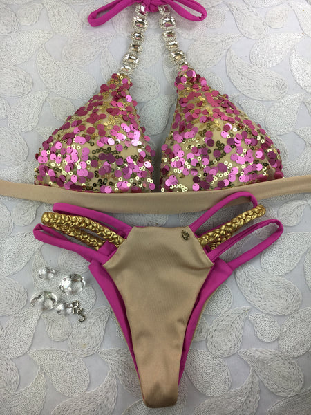 Custom Pool Party Glam by Ravish Sands Exclusive Sequin Seamless Amber (Molded cup top)***(SUIT SOLD PER PIECE OR SET, price varies)