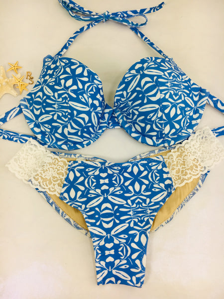 Custom Blue White Underwire Push Up bra with White lace (any fabric option welcome)***(SUIT SOLD PER PIECE OR SET, price varies)