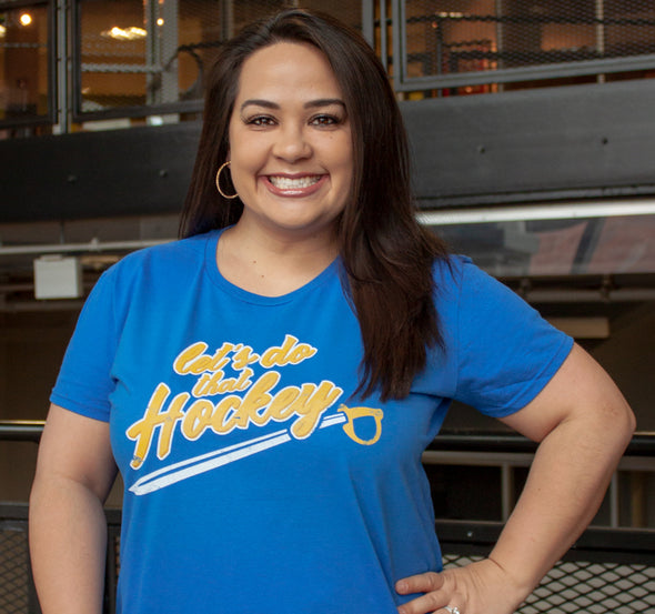Ladies T-Shirt, modeled by local news anchor Heather Ly (Royal, 100% cotton)