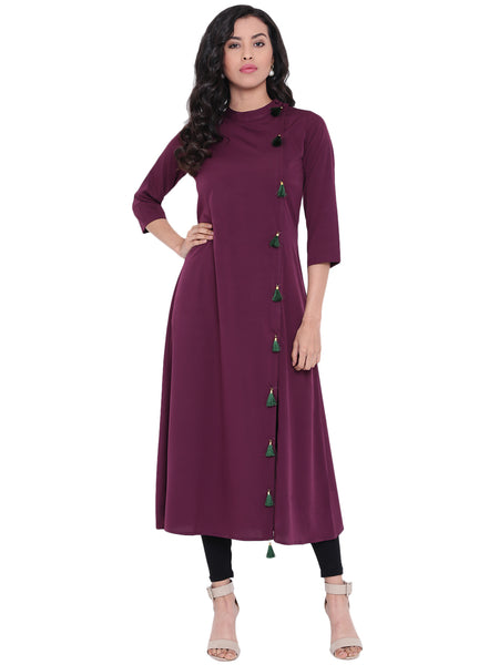 Fabnest Women's Crepe Kurta / Kurti With Black Tassles On The Side