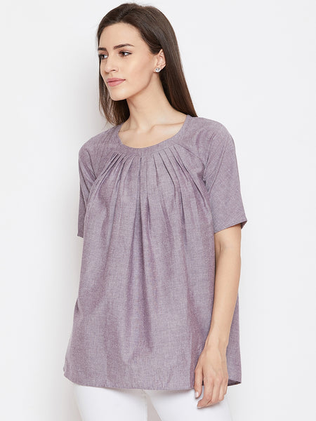 Fabnest women lilac chambray pleated top