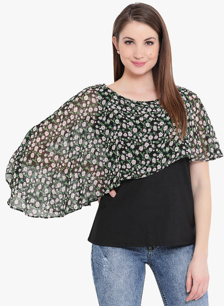 Fabnest womens butterfly ic black cotton and black printed ggt