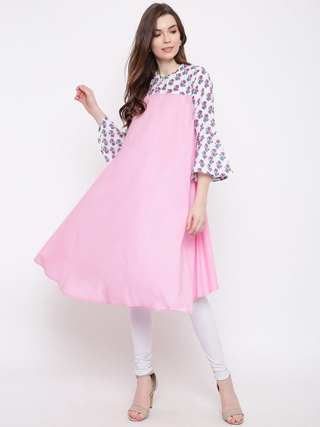 Fabnest women pink cotton ghera tunic/kurta with small jaipuri print insert