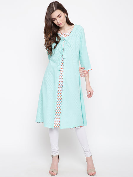 Fabnest women double layered kurta in jaipuri print and light green solid shell