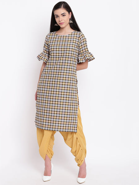 Fabnest women set of check cotton kurta and cotton solid dhoti salwar
