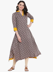 Fabnest womens long grey printed cotton kurta with assymetrical bottom hem with yellow facing