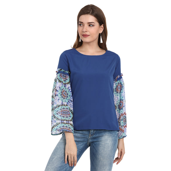 Fabnest women's crepe and Georgette gathered sleeve top