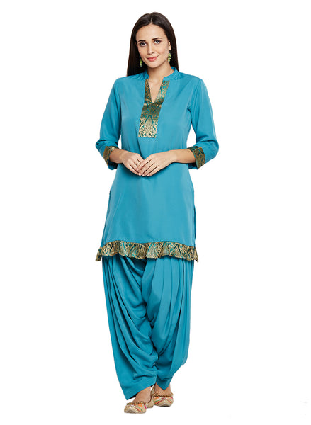 Fabnest Women's Crepe short kurta with brocade embellishment and salwar