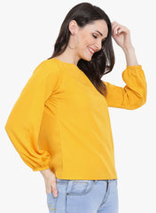 Fabnest womens boat neck yellow crepe top