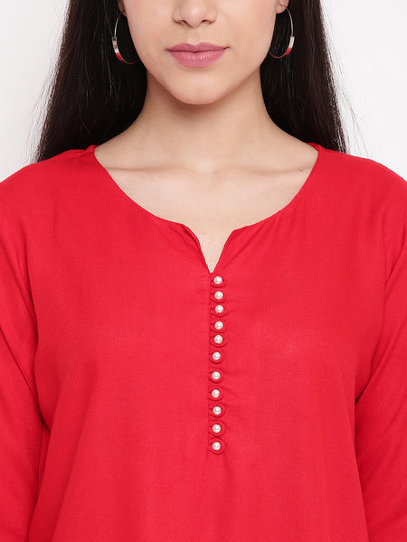 Fabnest women rayon short kurta/tunic with pearl buttons