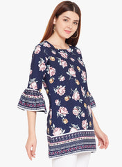 Navy Blue Floral Print Tunic