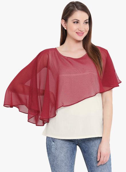 Fabnest Womens white and maroon butterfly top