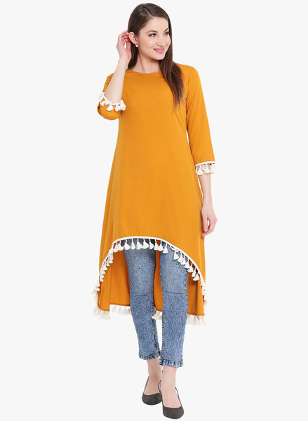 Fabnest womens high low tunic in mustard coloured crepe with tassle lace at the bottom