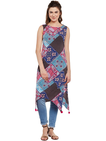 Fabnest Women Abstract Asymmetric Kurta