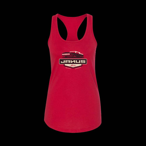 "Woman's Red Racerback Shirt with Janus ""Drive"" Single Artwork"