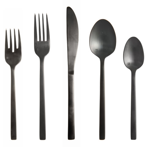 Arezzo 18/10 Brushed Black Flatware Set, Service for 4, 20-Piece