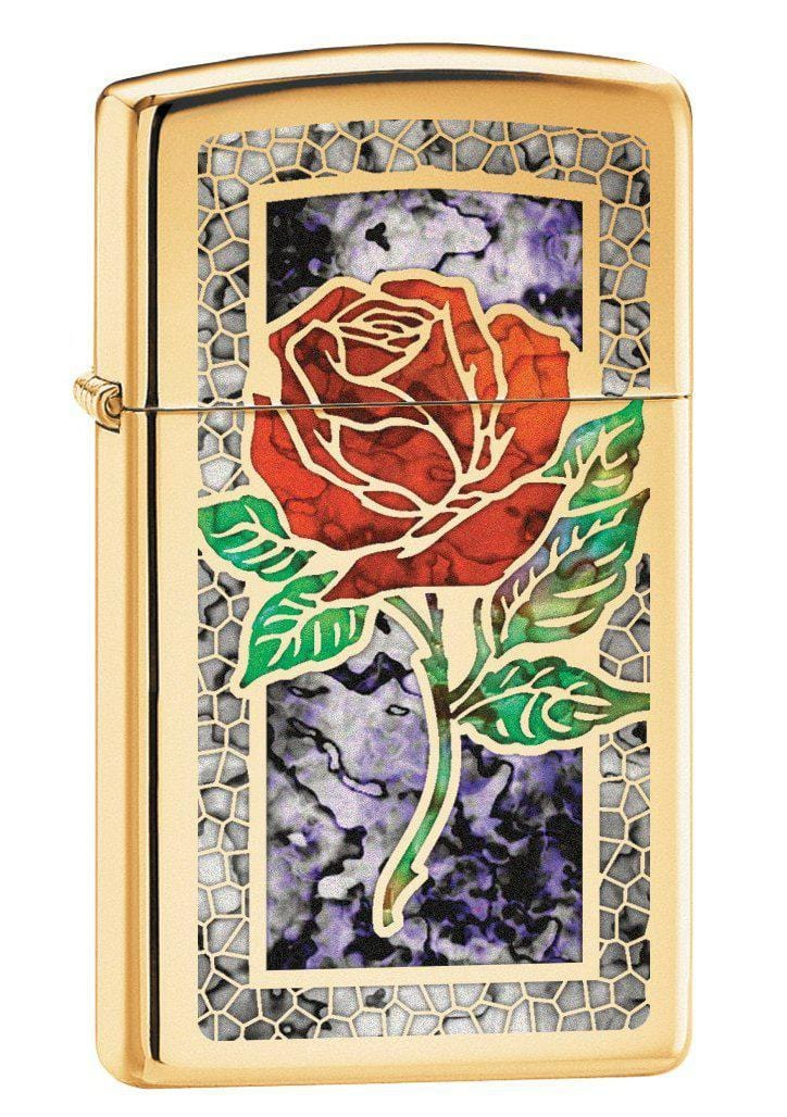 Zippo Lighter: Slim Fusion Rose - High Polish Brass 78750