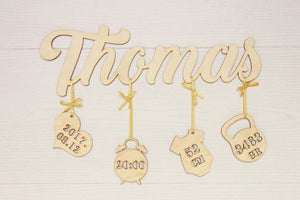 Birth announcement sign, New baby gift, Newborn gift, Nursery decor wooden, Rustic nursery