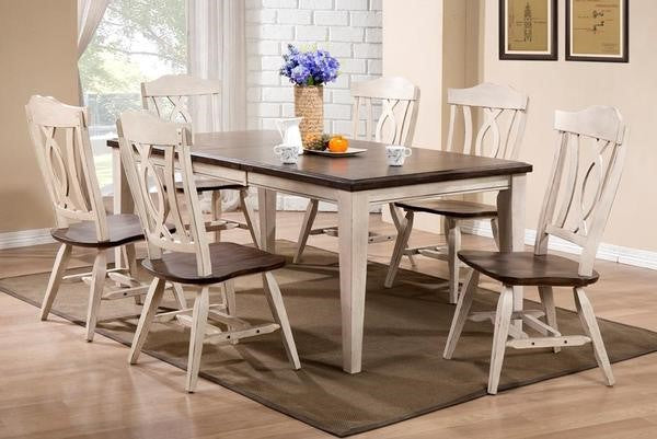 Two Tone Dark Brown & White Butterfly leaf table & chairs
