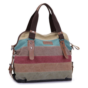 Casual Beach Bag Striped Shopping