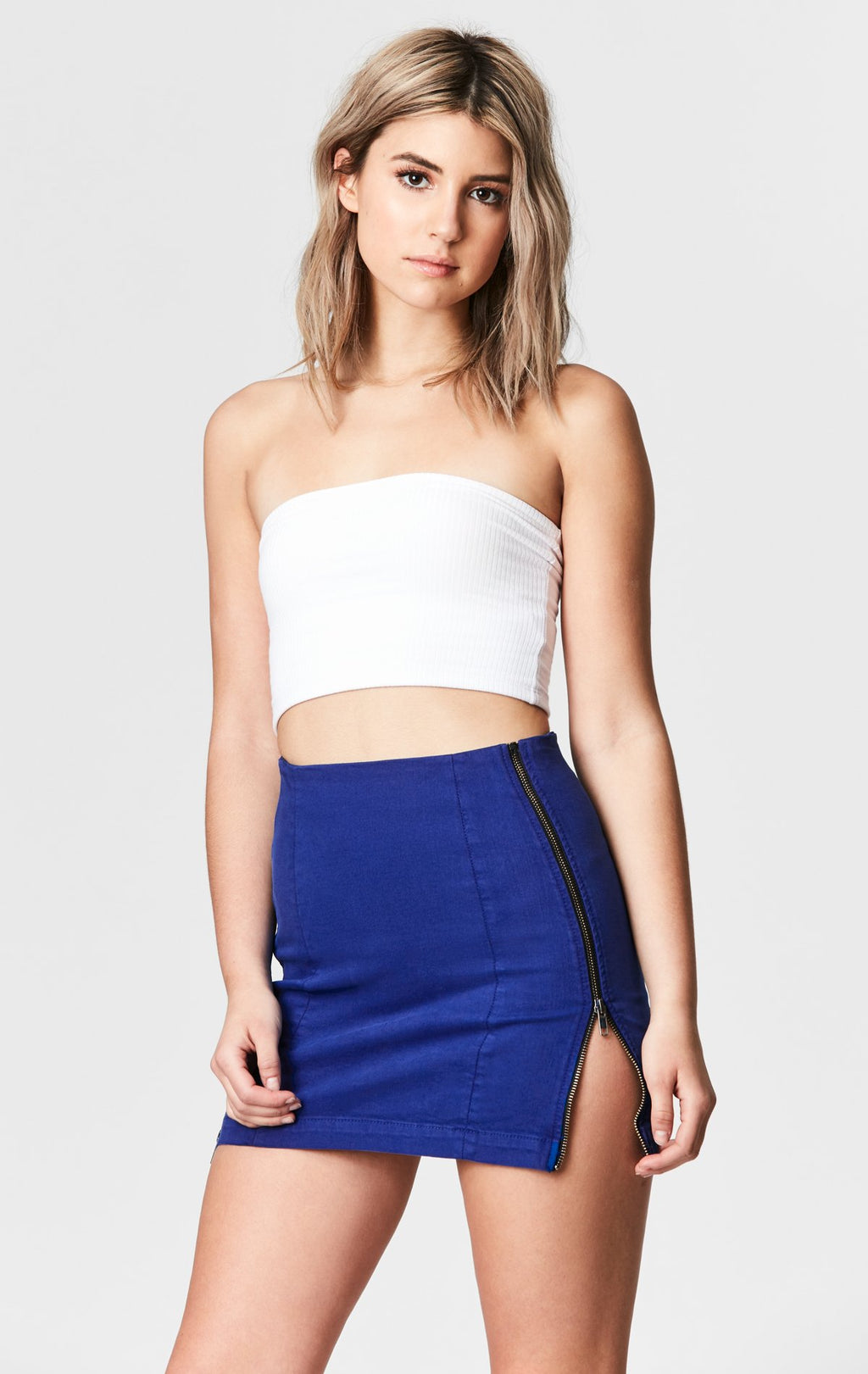 CARMAR DENIM ROYAL BLUE MARGERY DOUBLE SIDE ZIP SKIRT CROP FRONT